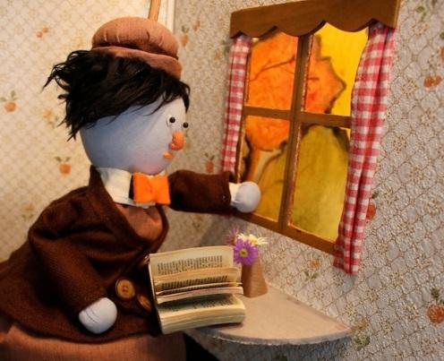 Mr. Bumblegrum - Bag puppet - Wood, fabric, sand