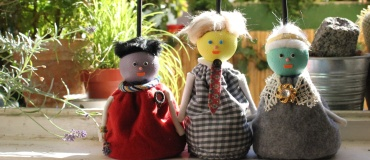 Toby, George, Mrs. Marscapone - Bag puppets - Wood, fabric, Polystyrene