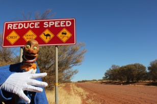 Igor is surprised by the Australian road signs