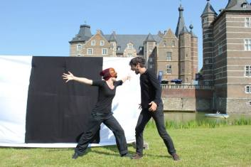 Commedia in front of Schloss Merode, Germany