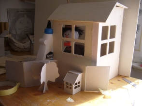 pop-up house miniature model and full-size result