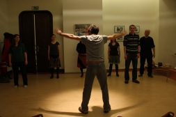 Pierre teaching masked theatre with open arms!