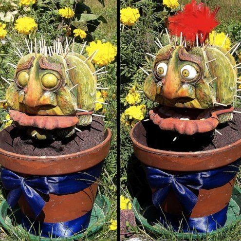 Ludwig the cactus - Hand and Glove puppet - Wood