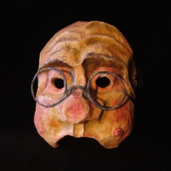Half mask, old man with glasses - Paper mâché