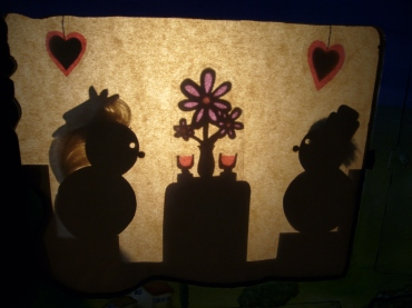Mr B & Lucy - Shadow Puppets - Cardboard, wood
